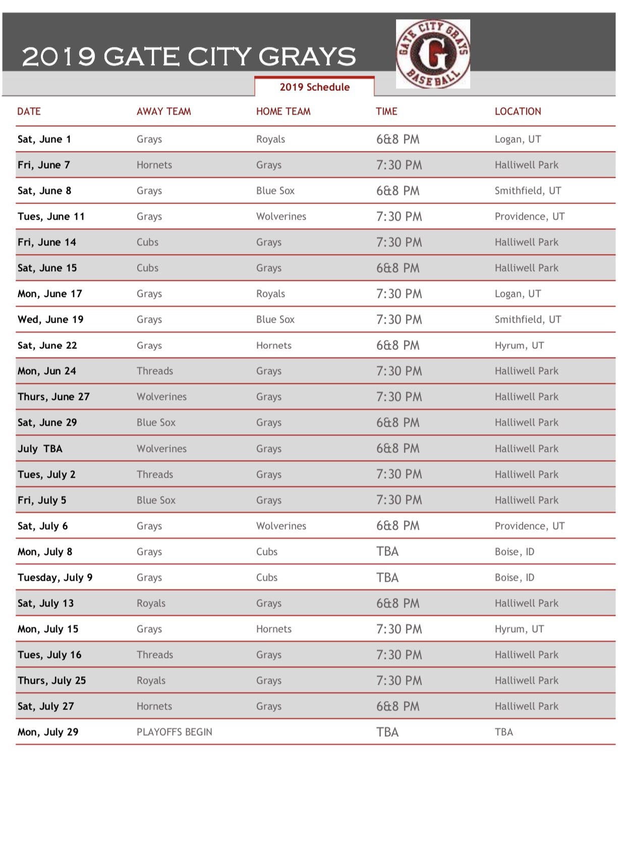 2019 Grays Schedule